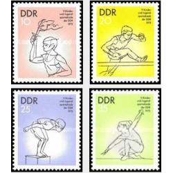 4 عدد تمبر ورزشی رویدادهای جوانان- جمهوری دموکراتیک آلمان 1975