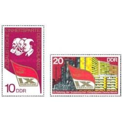 2 عدد تمبر نهمین کنگره حزب اتحادیه سوسیالیستی - جمهوری دموکراتیک آلمان 1976