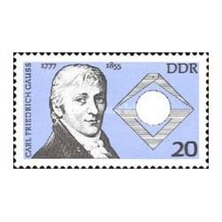 1 عدد تمبر 200مین سالروز تولد فردریش گاوس - ریاضی دان - جمهوری دموکراتیک آلمان 1977