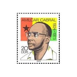 1 عدد تمبر یادبود پنجمین سال درگذشت امیلکار کابرال -  یکی از رهبران ضد استعماری آفریقا - جمهوری دموکراتیک آلمان 1978
