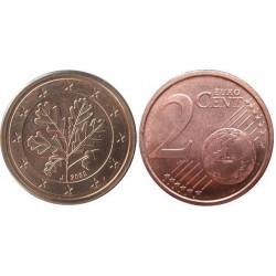 سکه 2 سنت یورو - مس روکش فولاد - آلمان 2003 غیر بانکی