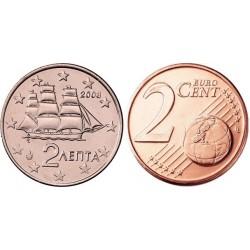 سکه 2 سنت یورو - مس روکش فولاد - یونان 2007 غیر بانکی