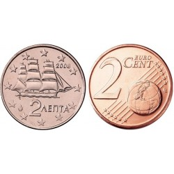 سکه 2 سنت یورو - مس روکش فولاد - یونان 2014 غیر بانکی