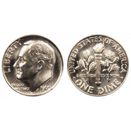 سکه 10 سنت - نیکل مس - آمریکا 1966 غیر بانکی