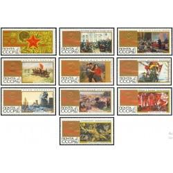 10 عدد تمبر پنجاهمین سالگرد انقلاب کبیر اکتبر - آرم برجسته - تابلو - شوروی 1967