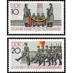 2 عدد تمبر 25مین سالگرد ارتش ملی - جمهوری دموکراتیک آلمان 1981