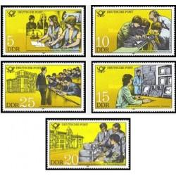 5 عدد تمبر راجع به خدمات پست و تلگراف - جمهوری دموکراتیک آلمان 1981