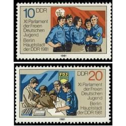 2 عدد تمبر پارلمان جوانان - جمهوری دموکراتیک آلمان 1981