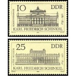 2 عدد تمبر 200مین سالگرد تولد کارل فردریش شینکل - برنامه ریز شهری و معمار - جمهوری دموکراتیک آلمان 1981