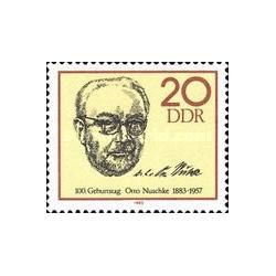 4 عدد تمبر سال تولد اوتو ناشکه - سیاستمدار - جمهوری دموکراتیک آلمان 1983
