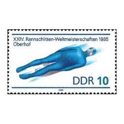 1 عدد تمبر قهرمانی مسابقات جهانی لوژسواری- جمهوری دموکراتیک آلمان 1985