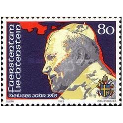 1 عدد تمبر یادبود پاپ ژان پل دوم - لیختنشتاین 1983