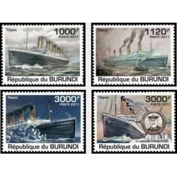 4 عدد تمبر یادبود صدمین سال حادثه کشتی تایتانیک - بروندی 2011  قیمت 9.3 دلار