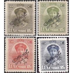 4 عدد تمبر خدمات پستی -سری پستی - سورشارژ Official  - لوگزامبورگ 1924