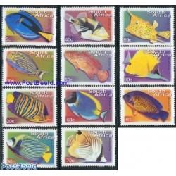 11 عدد تمبر سری پستی - ماهیها  - آفریقای جنوبی 2001