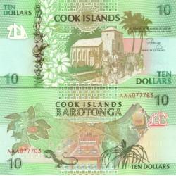 اسکناس 10دلار - جزایر کوک 1992 ارزش ارزی معادل 6.6 دلار