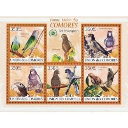 مینی شیت پرندگان - طوطیها - کومور 2009 قیمت 9.31 دلار