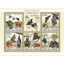 مینی شیت پستانداران - خفاشها  - کومور 2009 قیمت 11.64 دلار