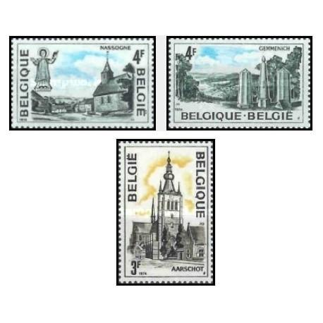 3 عدد تمبر توریسم -  بلژیک 1974