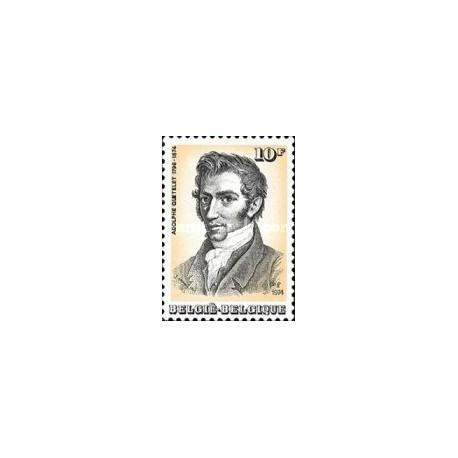 1 عدد تمبر  صدمین سال تولد کوئتلت - ستاره شناس -  بلژیک 1974