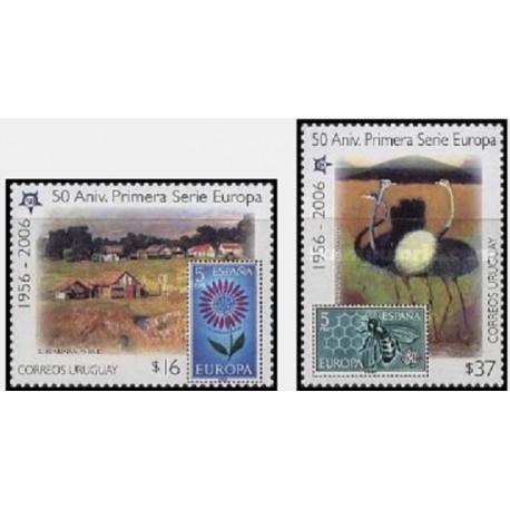 2 عدد تمبر مشترک اروپا - Europa Cept - یادبود پنجاهمین سالروز تمبرهای اروپا - اروگوئه 2005  قیمت 6.4 دلار