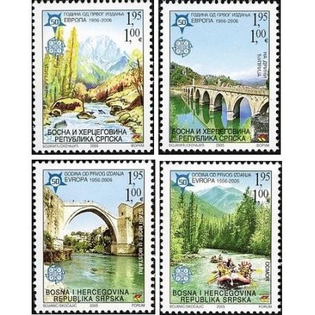 4 عدد تمبر مشترک اروپا - Europa Cept - پنجاهمین سالروز تمبرهای اروپا -بوسنی هرزگوین صربستان 2005  قیمت روی تمبر 4 یورو