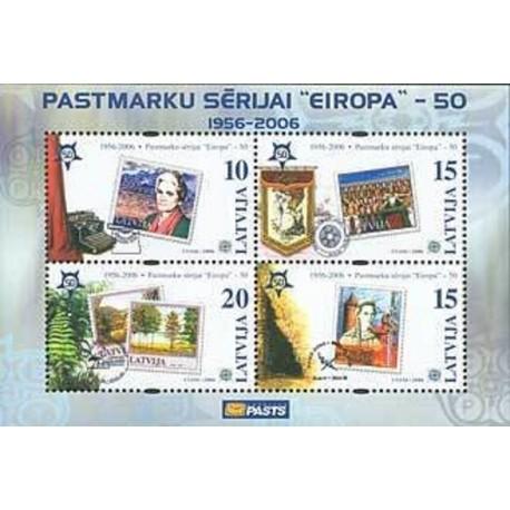 مینی شیت تمبر مشترک اروپا - Europa Cept - پنجاهمین سالروز تمبرهای اروپا -لتونی 2006  قیمت 2.3 دلار