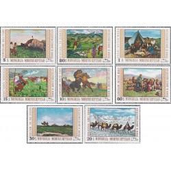 8 عدد تمبر تابلوهای نقاشی موزه ملی الان باتور - دهمین سالگرد جنبش همکاری - مغولستان 1969