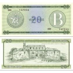 اسکناس 20 پزو سری B- کوبا 1985 برای کشورهای سرمایه داری نرخ تبادل 1 پزو برابر 1 دلار آمریکا