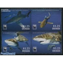 4 عدد تمبر WWF -  کوسه پوزه سفید - گرانادا 2014