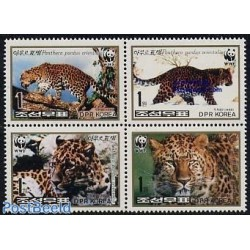 4 عدد تمبر WWF -  پلنگ - کره شمالی 1998