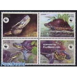 4 عدد تمبر WWF -  لاکپشتها  - لائوس 2004