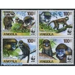4 عدد تمبر WWF -  میمونها - B - آنگولا 2011 قیمت 18 دلار