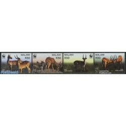 4 عدد تمبر WWF -  غزال  - B - مالاوی 2003