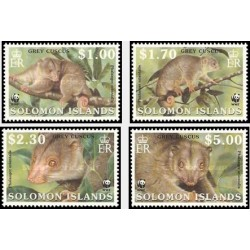 4 عدد تمبر Cuscus - WWF خاکستری  - B - جزایر سلیمان 2002