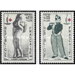 2 عدد تمبر صدمین سالگرد صلیب سرخ - فرانسه 1963