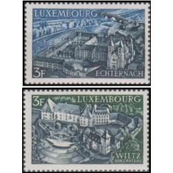 2 عدد تمبر مقاصد توریستی - لوگزامبورگ 1969