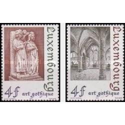 2 عدد تمبر هنر معماری گوتیک - لوگزامبورگ 1974