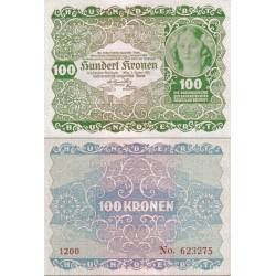 اسکناس 100 کرون - اتریش 1922 کیفیت 98%
