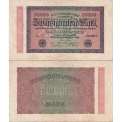 اسکناس 20000 رایش مارک -رایش آلمان 1923 - فیلیگران مطابق توضیحات - کیفیت مطابق عکس