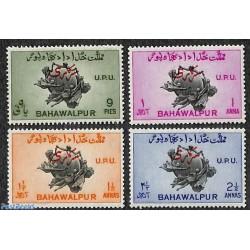 4 عدد تمبر 75مین سالگرد اتحادیه جهانی پست - UPU - سورشارژ سرویس - بهاولپور 1949   پاکستان 1949