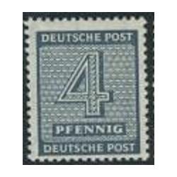 1 عدد تمبر سری پستی - 4 فنیک - ساشن غربی - جمهوری دموکراتیک آلمان 1945 با شارنیه