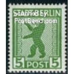 1 عدد تمبر سری پستی - 5 - شهر برلین - جمهوری دموکراتیک آلمان 1945 با شارنیه