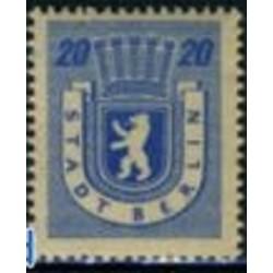1 عدد تمبر سری پستی - 20 - شهر برلین - جمهوری دموکراتیک آلمان 1945 با شارنیه