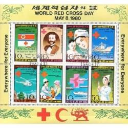 سونیرشیت روز جهانی صلیب سرخ - شیر و خورشید - کره شمالی 1980 با مهر صادراتی - CTO