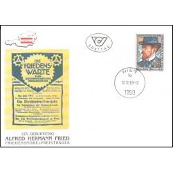پاکت مهر روز آلفرد فرید - برنده جایزه صلح نوبل - اتریش 1989