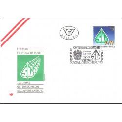 پاکت مهر روز  صدمین سال امنیت اجتماعی- اتریش 1989