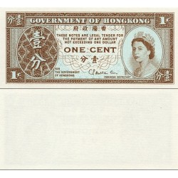 اسکناس 1 سنت - هنگ کنگ 1971 الی 1981 تصویر ملکه الیزابت دوم