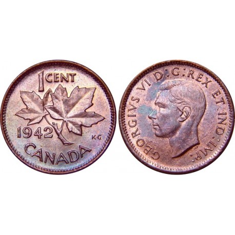 سکه 1 سنت - برنز - کانادا 1942 غیر بانکی