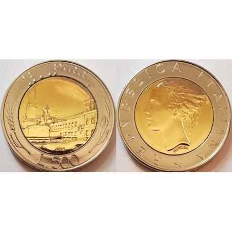 سکه 500 لیره - بیمتال - مس آلومینیوم نیکل آهن - ایتالیا 1982 غیر بانکی